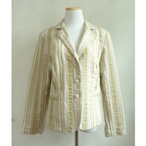 CABI Jacket Size 10 NEW Striped Seersucker Cotton